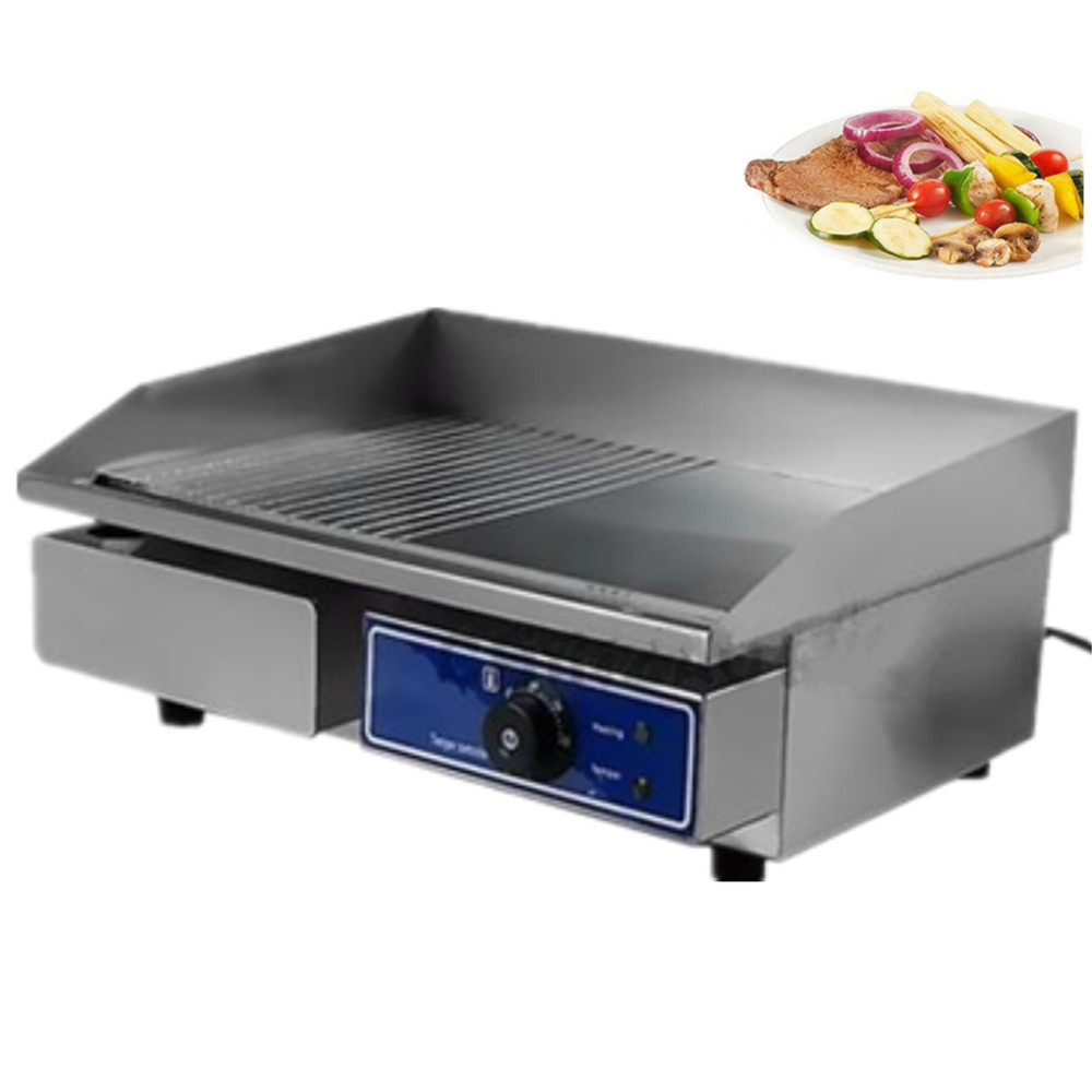 Fast ship From Germany !  cheap  Stainless Steel Flat   Grooved Electric Griddle   Contact Grill BBQ Grill cheap household barbecue meat pan grill electric griddle germany stock
