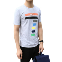 High Quality 2017 Cotton Men S T Shirt Seven Pattern Printed Fashion T Shirts Elastic Comfortable