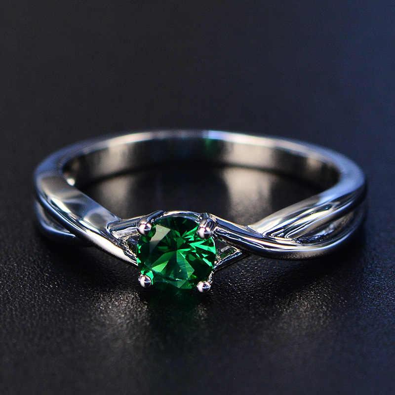 PANSYSEN แฟชั่น 100% จริง Sapphire แหวนเงิน 925 ผู้หญิง 5 มม.พลอยหมั้นแหวนเครื่องประดับ Ringen Drop การจัดส่ง