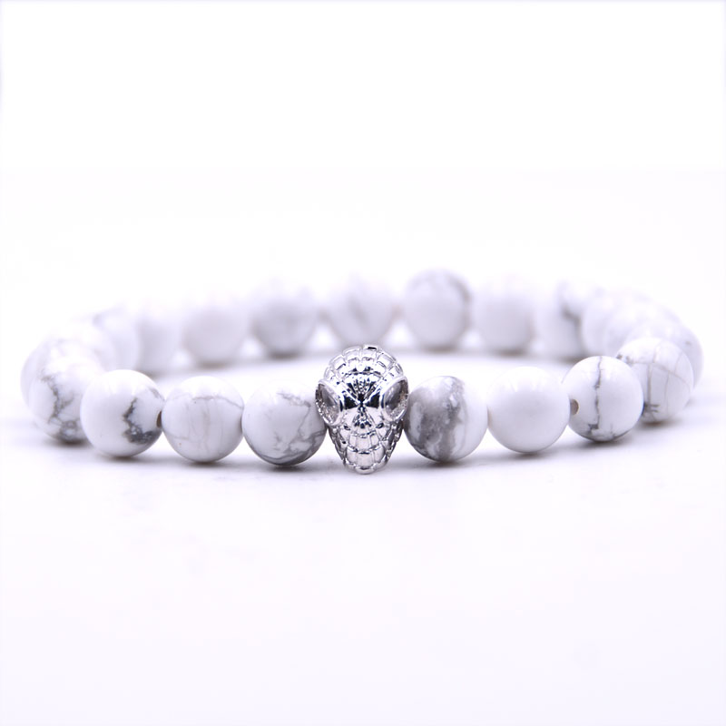 Kang hua 5 colors 8mm Natural stone Bracelet Pave CZ Silver Spiderman Glamour jewelry for Women Men Popular jewelry 2019 in Strand Bracelets from Jewelry Accessories