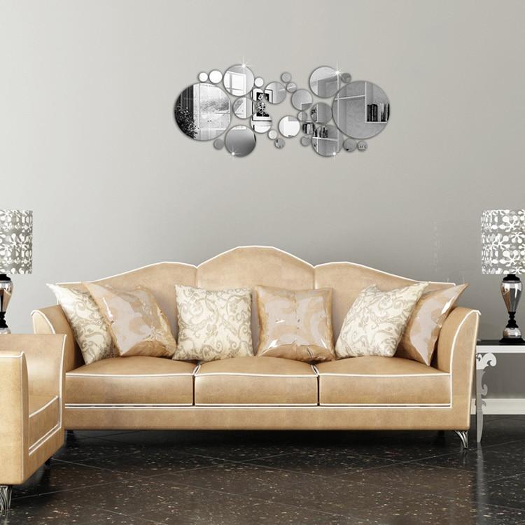 1 Satz Silber Polka Dot Spiegel Wandaufkleber Home Schlafzimmer Büro - Wohnkultur - Foto 3