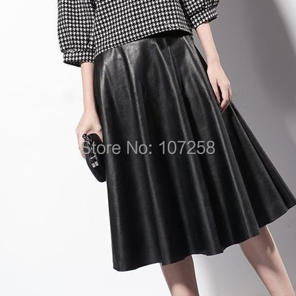 5fadc17a69dfd WBCTW 7XL Plus Size Women High Waist Faux Leather Skirt Knee-length Pleated  A-line PU 2018 Midi Skirt Summer Style Leather Skirt