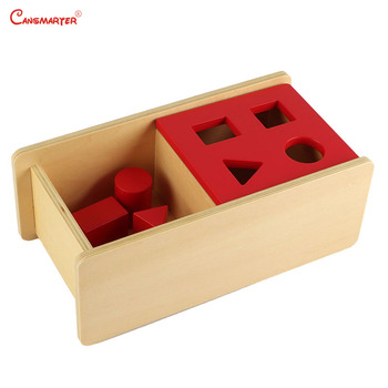 Sensory Practice Red Geometrics Box Wooden Toys Learning Games Teaching Aids Kids Baby Girl Educational Montessori Toys LT035 wooden sensory toys box with sliding lid attention practice game baby boy 0 3 years home educational toy montessori