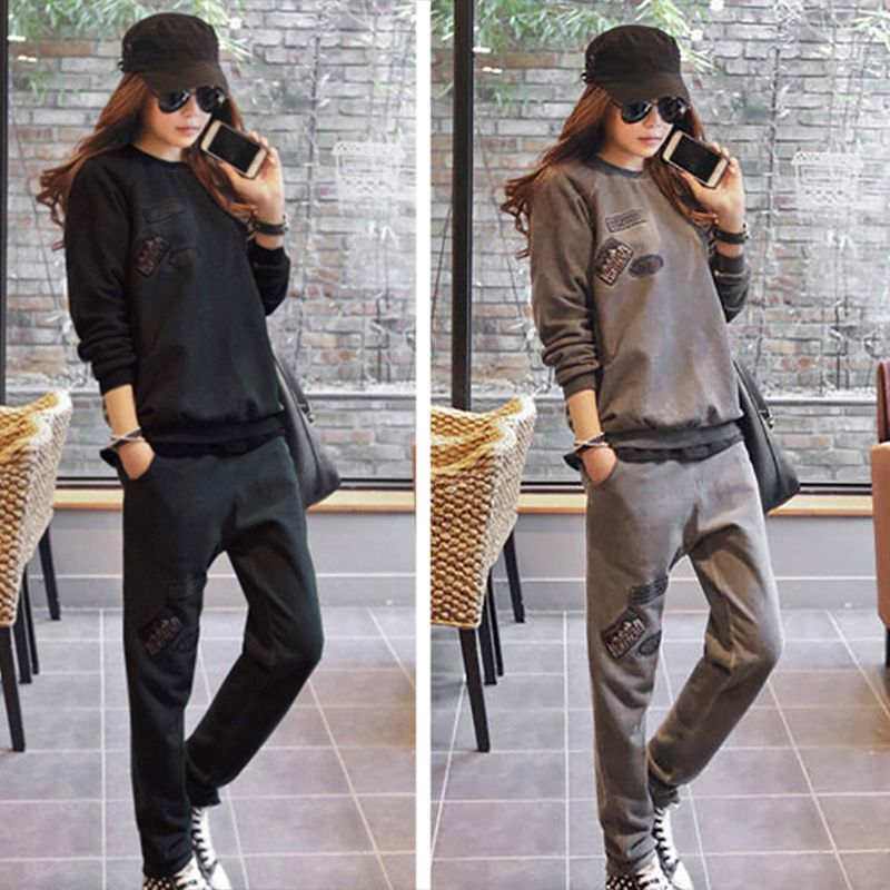 Casual Sweater Suit Female 2019 New Autumn And Winter Thick Loose Shirt Plus Velvet Sports Two-piece Korean Fashion