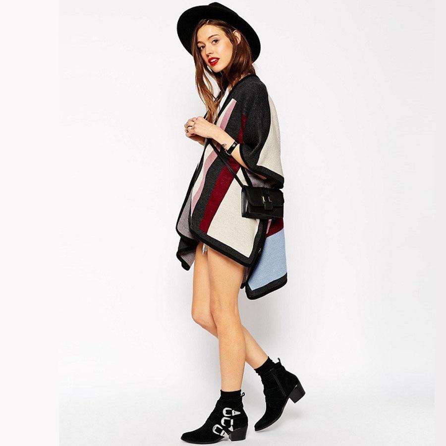 H011 autumn thin Cardigans British striped cape style Three Quarter Geometric Casual cardigan women sweater pull