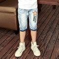 2016 diseño caliente del verano estampado de estrellas cabritos de los pantalones cortos de color azul claro niños elegantes pantalones vaqueros pantalones cortos de mezclilla para adolescentes niños de 11 años