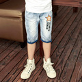 2016 hot summer design light blue star print kids short pants boys shorts elegant jeans denim shorts for teen children 11 years