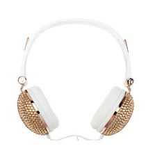 Colorful diamond-studded 3.5mm Audio Earphones Stereo Headset Cable for Android Smartphone, PC, Mp3/mp4, Tablet Macbook(Gold)