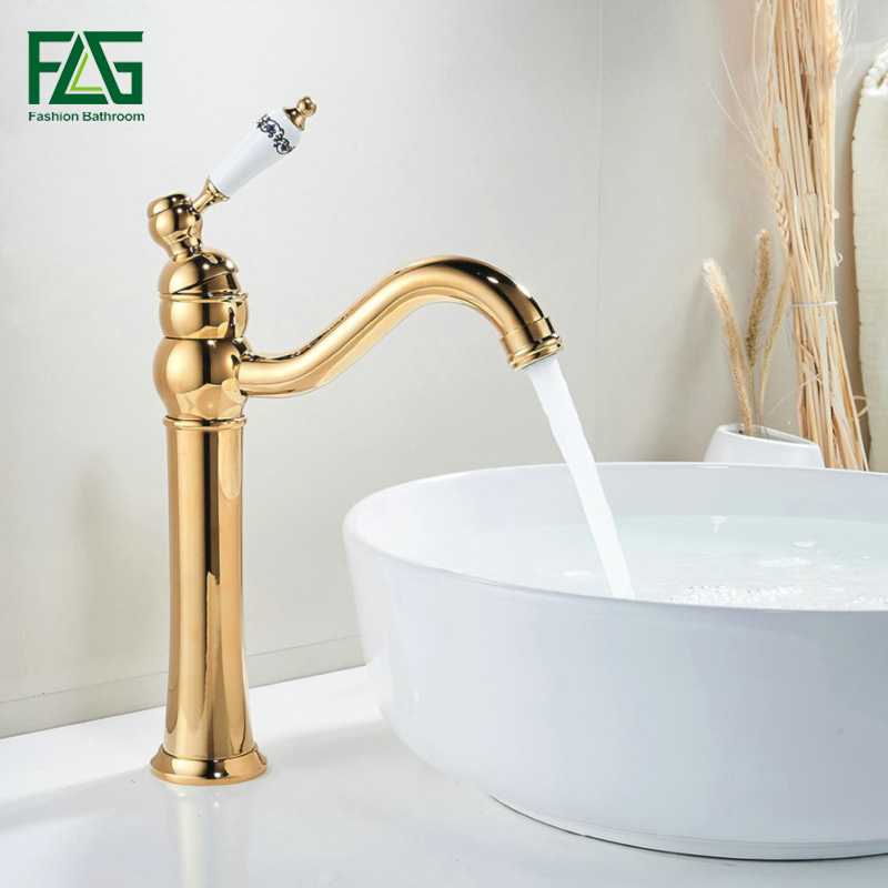 FLG Basin Faucet Gold Color 360 Degree Swivel Basin Tap Deck Mounted Porcelain Handle Golden Classic