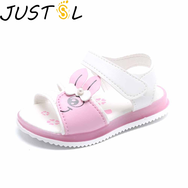 JUSTSL Girls Sandals 2020 Summer Flash Shoes Kids Beach Shoes Open-toe Sandals Children LED Non-slip Soft Shoes Size 21-30
