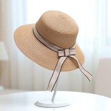 Fashion Summer Female Gauze Bow Handmade Straw Sun Hat Outdoor Women Travel Fashion Elegant Sunscreen Beach Foldable Dome Hat все цены