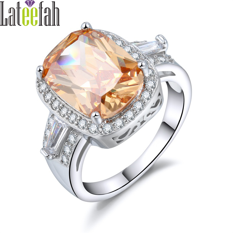 Lateefah Luxury Big Stone Champagne Cubic Zirconia Rings for Etsy Victoria Gorgeous Cocktail CZ Jewelry Ring Bague Femme