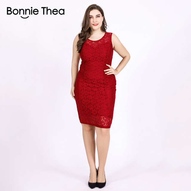 0958debdaf24b US $25.71 30% OFF|women black/red plus size lace dress summer Elegant XL  6XL large size bodycon Sexy Pencil party dress Big Size dresses vestidos-in  ...