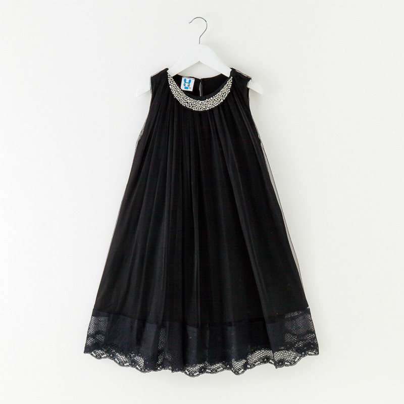 Teens Girls Black Girl Dress 2018 Spring Summer Princess Chiffon Sleeveless black Lace Cloth Loose Cute Beaded Gauze Girl Dress black handmade beaded details crew neck sleeveless high waisted dress