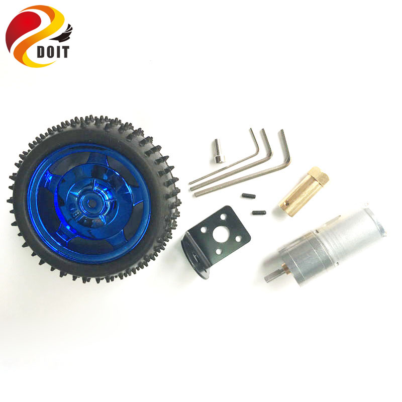 DOIT one set accessory for robot car chassis with 85mm Wheel Width 31mm, Motor, Copper Coupling, Motor Bracket, screws DIY Toy 2 wheel drive robot chassis kit 1 deck