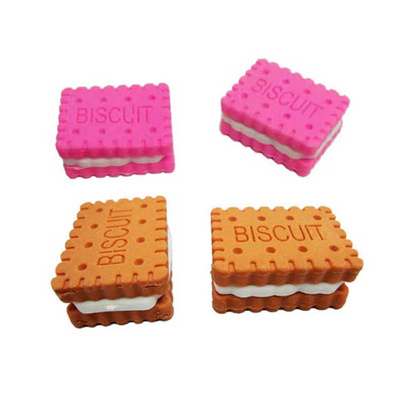 1Pc Kawaii Biscuit Eraser Cute Macaron Rubber Eraser Mini Pencil Eraser For Kids Gifts School Supplies Stationery