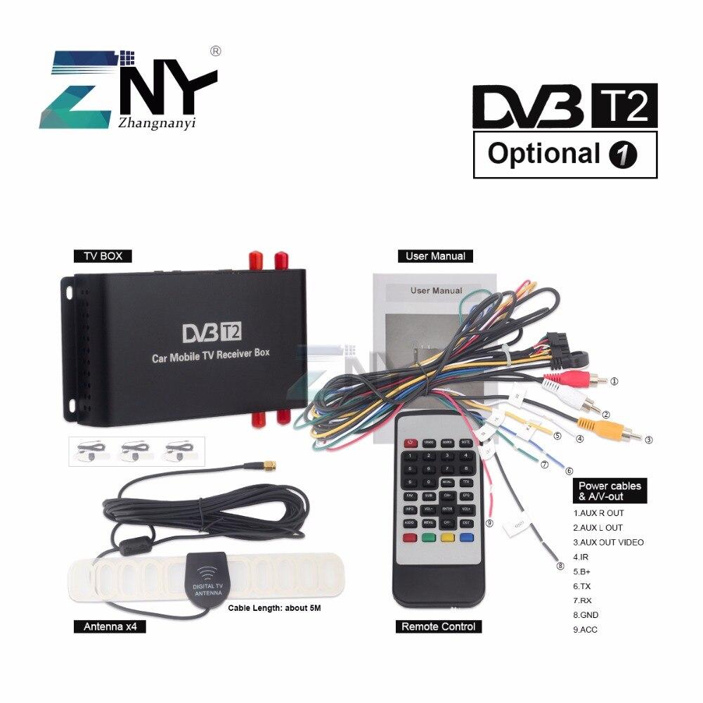ZNY Auto DVB-T2 DVB-T MPEG4 Digital TV Box 4 Seg Unterstützung 180-200 km/std Geschwindigkeit Fahren Digital Auto TV tuner HD 1080 p TV Empfänger