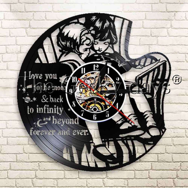 1piece I Love You To The Moon Quotes Wall Clock Little Sister Little
