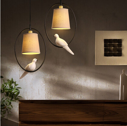 Nordic Country LED Pendant Lights Resin Bird Hanglamp Vintage Droplight Fixtures For Home Lightings Cafe Bar Lamparas Colgantes creative resin retro loft edison pendant lights american country hanglamp nordic fixtures for home lightings lamparas colgantes