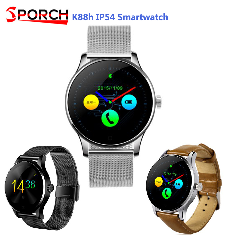 Sproch K88H MTK2502C Bluetooth Smart Watch 2.5D HD IPS Screen Sleep Heart Rate Monitor IP54 Waterproof Smartwatch Fr Android IOS