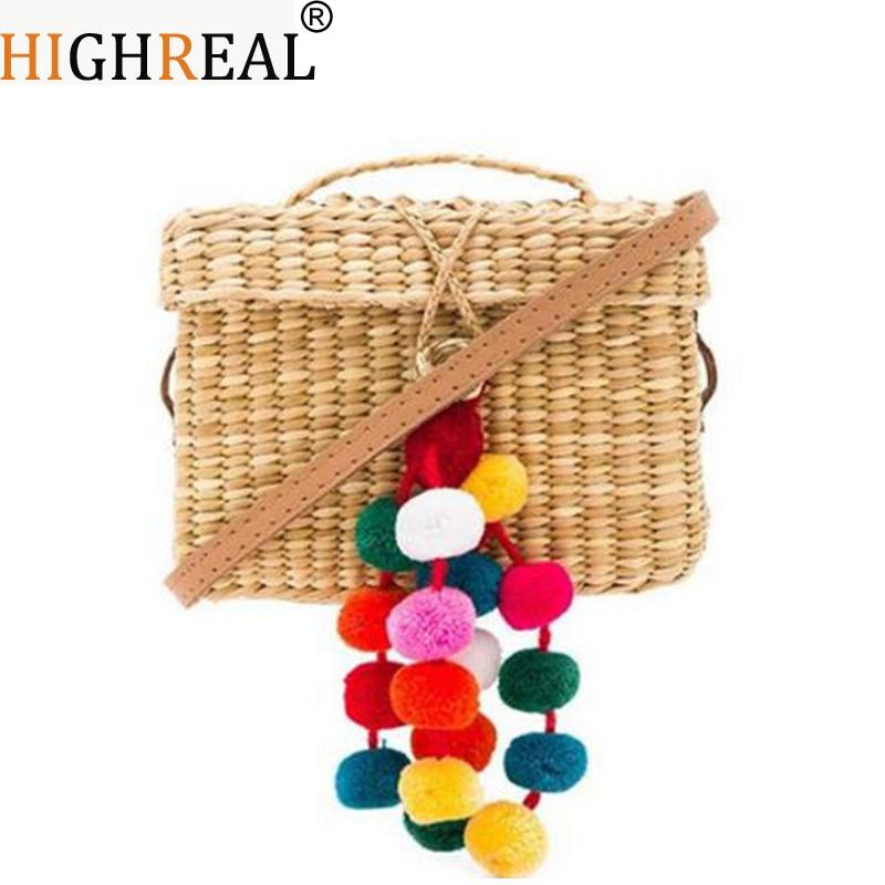Summer Travel Handbags Retro Basket Bag LeisureTote Hair Ball Beach Bag for Women Handmade Pompom Straw