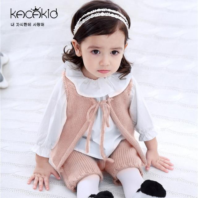 817f3bdd8 Kacakid Spring new baby clothing baby boy girl wool knit vest pants ...