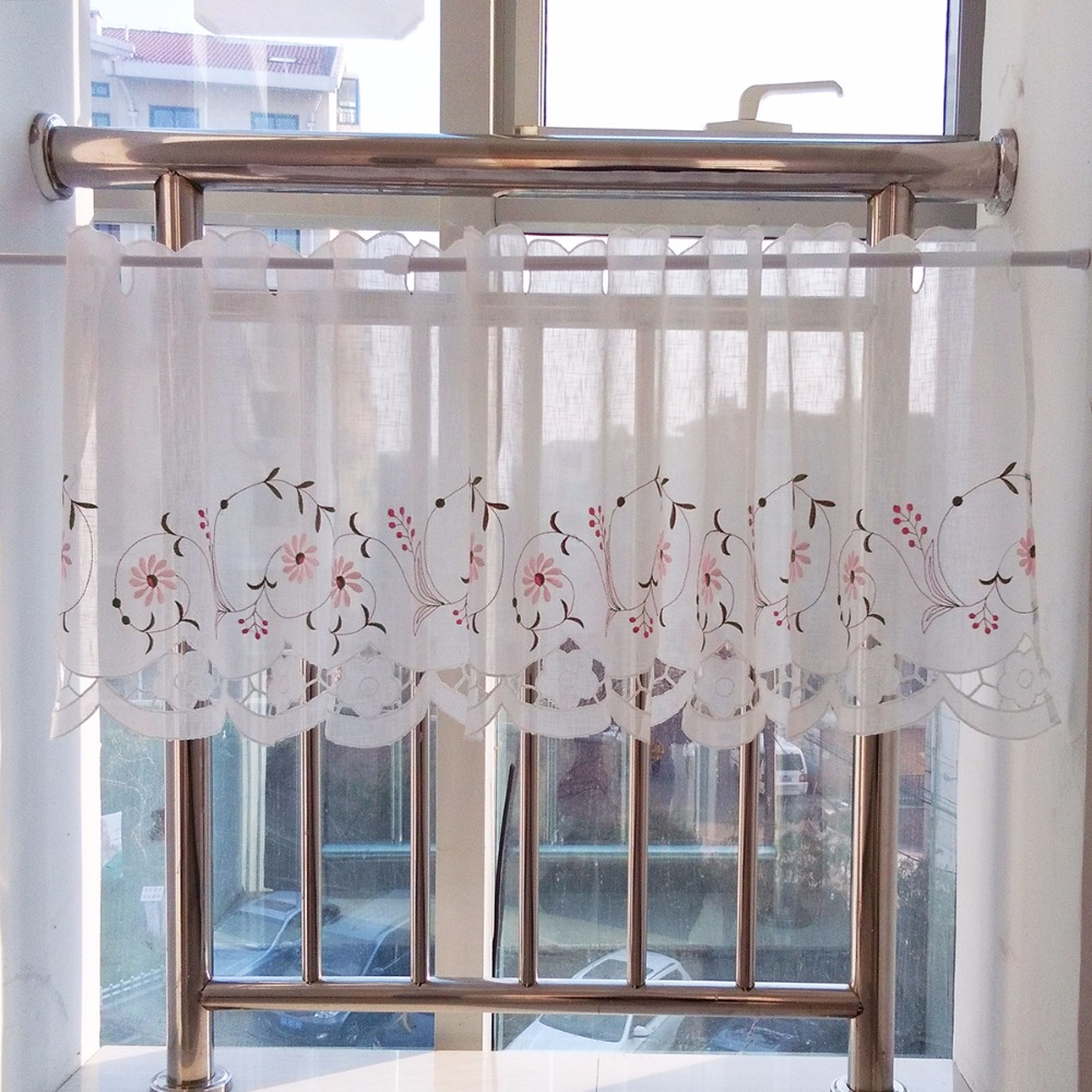 Pink Embroidery Flower Hollow Sheer Curtain Pastoral Style