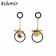Personality minimalist Fashion girl joker round bead geometry asymmetry atmospheric exaggerated earrings fashion