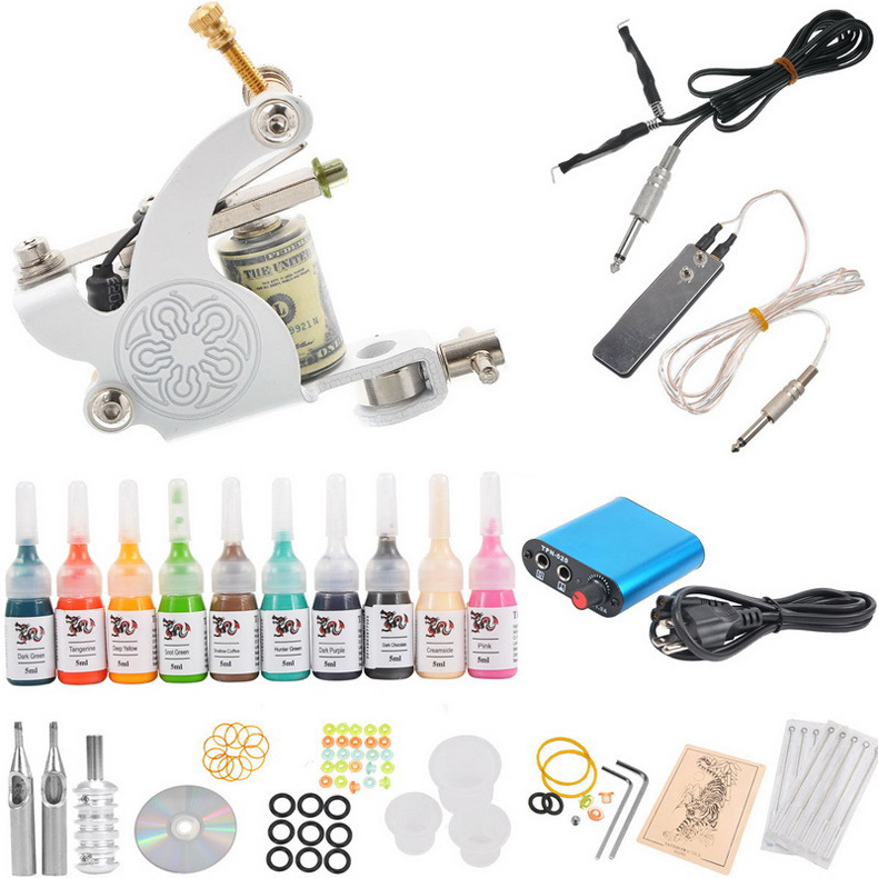 Tattoo kit machines 10 colors pigment power supply needles for Supplies for tattooing