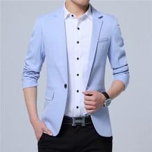 2015 новинка весенний модный брендовый блейзер мужской повседневный пиджак для вечеринки, мужской приталенный трендовый хлопковый пиджак 4XL