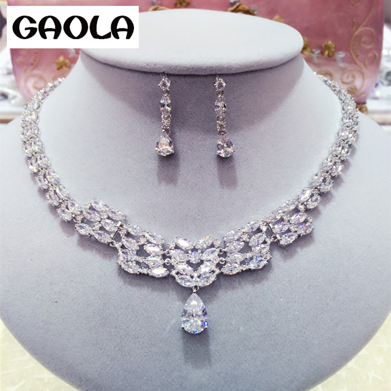 2016 New Design Gold Color Crystal  Drop Earrings and Necklace charms Jewelry Sets GLN0196/GLE51522016 New Design Gold Color Crystal  Drop Earrings and Necklace charms Jewelry Sets GLN0196/GLE5152
