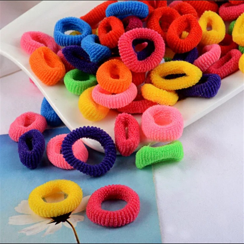 100pcs pack Candy Colour Basic Rubber Band Children Kids Elastic Hair Band Baby Girls Hair Rope Accessories Girl Charms Tie Gum 100pcs lot fluorescence colored hair band holders rubber bands elastics hair accessories girl women hair ties gum page 6