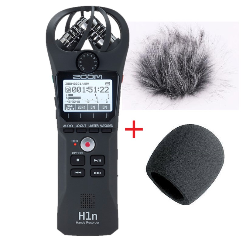 Original ZOOM H1N Digital Camera Audio Recorder Stereo Microphone with wind sponge and fur coat gifts