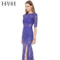 HYH HAOYIHUI Women Short Sleeve Backless Maxi Lace Dress Elegant Side Split Sexy Long Dress Formal