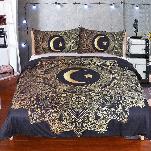 Gold new moon duvet cover bedding set, fashion bed linen housse de ...