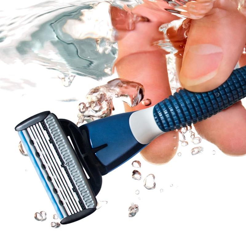 QShave Blu Serie 5 Strato USA Lama di Rasoio Manuale Mens Rasoio Da Barba con 6 Pezzi X5 Lama e ogni Pezzo ha Lama trimmer