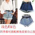South Korea stylenanda with spring and summer hot curling loose size female Europe Retro High Waist denim shorts