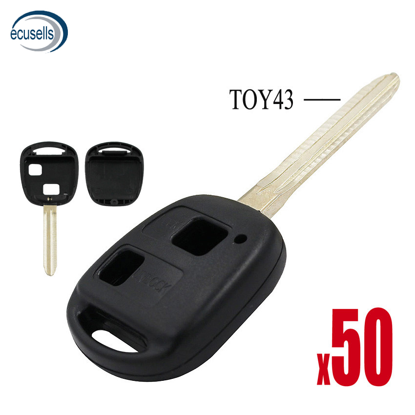 SALE 50 PCS LOT 2 Buttons Remote Key Case Fob for Toyota Prado Tarago Camry Corolla