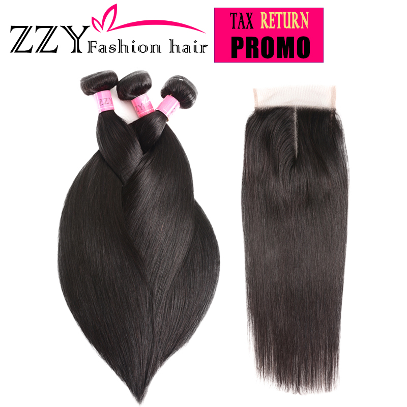 ZZY Fashion Hair Straight Hair Bundlar med Closure Peruvian Straight - Mänskligt hår (svart)