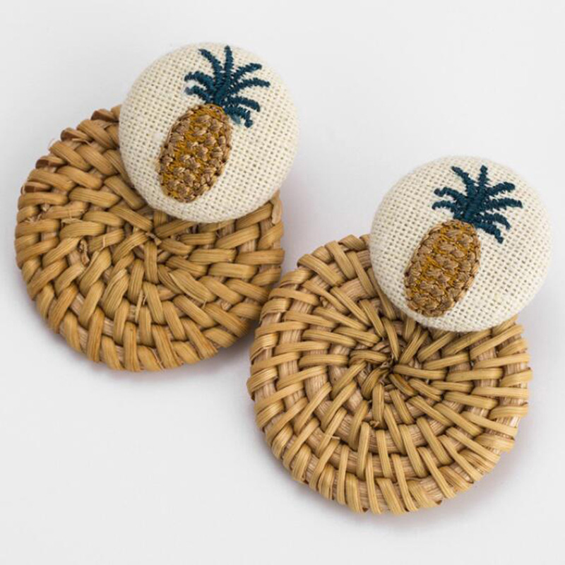 Handmade Pineapple Drop Earrings For Women Wooden Straw Weave Rattan Earrings Big Round Wedding Trendy Dangle Jewelry2019