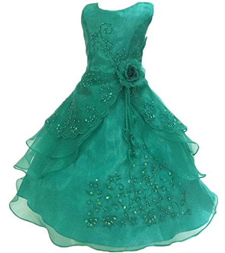 a900b092b78 Little Big Girls Embroidered Beaded Flower Girl Birthday Party Dress with  Petticoat