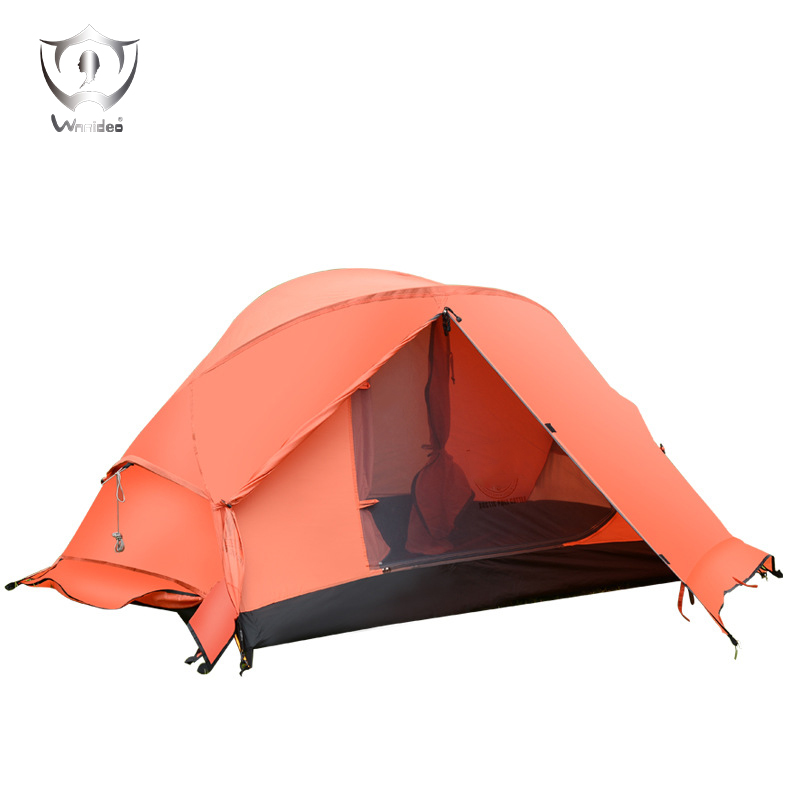 Outdoor Camping Tent PU3000MM Waterproof 210T2 Double-layer Polyester Ripstop Aluminum Rod One Bedroom Tent Barraca ZF7-1003 hillman 4 person camping tent with snow skirt double layer aluminum rod large tent one living room one bedroom family waterproof