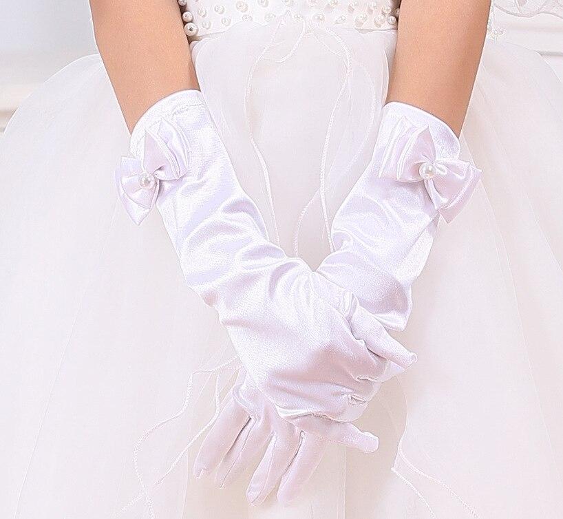 Gants pour filles Long princesse gants filles robe de mariée gant arc costume accessoires satin gants cadeau d'anniversaire blanc rose