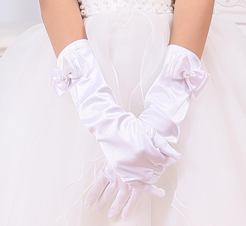 Luvas para as meninas Longas luvas princesa meninas luva vestido de casamento arco acessórios do traje luvas de cetim Branco presente de aniversário Rosa