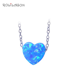 купить 100% Real 925 sterling silver Blue fire opal necklace & pendant Heart shape fine jewelry for women по цене 859.73 рублей