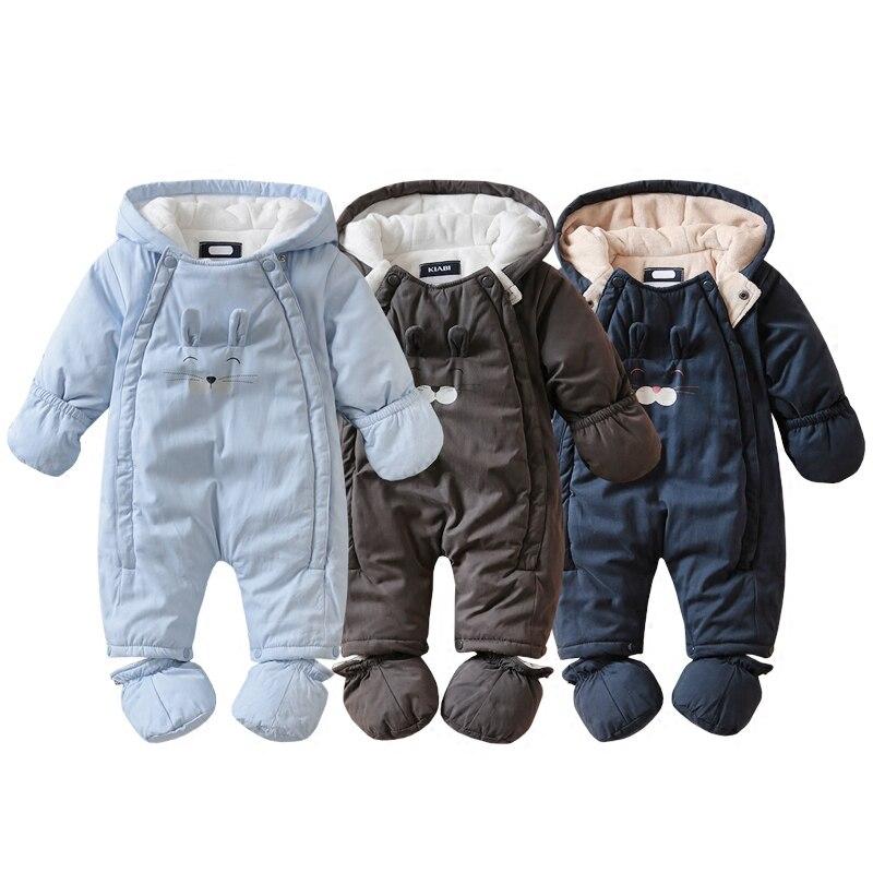 Nouveau-né bébé garçon filles à capuche épaississement chaud barboteuses bébé automne hiver à manches longues combinaison bébé vêtements pyjamas