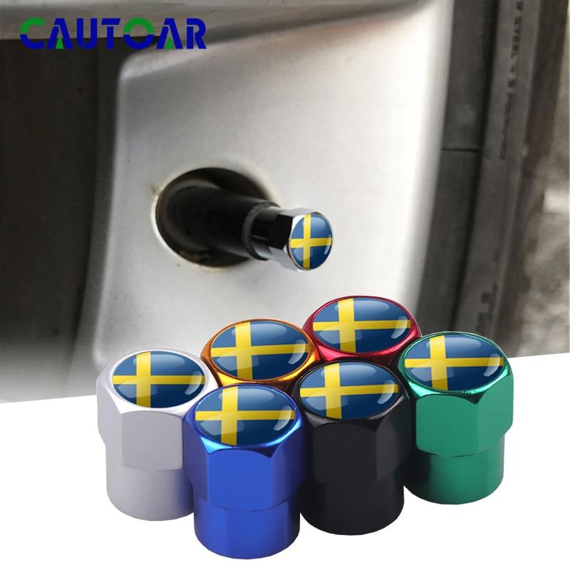 4pcs Car Styling Sweden Flag Emblem Wheel Tire Valves Tyre Air Caps Case for Volvo V70 XC60 S60 V60 V40 decoration Accessories