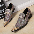Christia Bella Luxury Men Party Wedding Handmade Loafers Glitter Men Dress Shoes Diamond Smoking Slippers Men's Flats Big Size