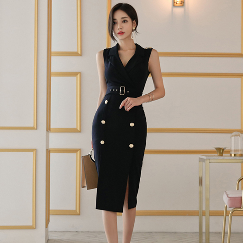 Elegant V neck Pencil Dress Sashes Double Breasted Mid length Women Vestidos Femme Sleeveless Side Split OL Dresses 2018 Autumn