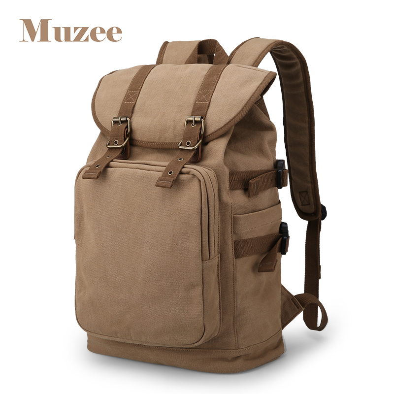 2018 Muzee New Canvas Hign Capacity Backpack Fit for 14-15.6 inch Laptop Backpack Brand Muzee Khaki Mochila 4pcs stainless steel side door body molding cover trim for bmw x5 f15 2014 2015 car accessories